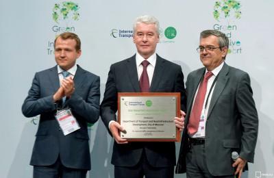 Мэр Москвы Сергей Собянин получил премию в сфере транспорта