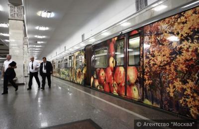 «Город в живописи»: на Арбатско-Покровской линии обновили экспозицию именного поезда «Акварель»