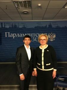 Заместитель председателя молодежной палаты района Москворечье-Сабурово Геворк Хоршикян посетил встречу с депутатом Государственной думы
